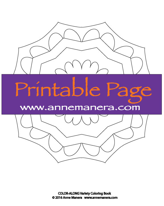 Printable EASY Mandala Coloring Page By Anne Manera Pdf